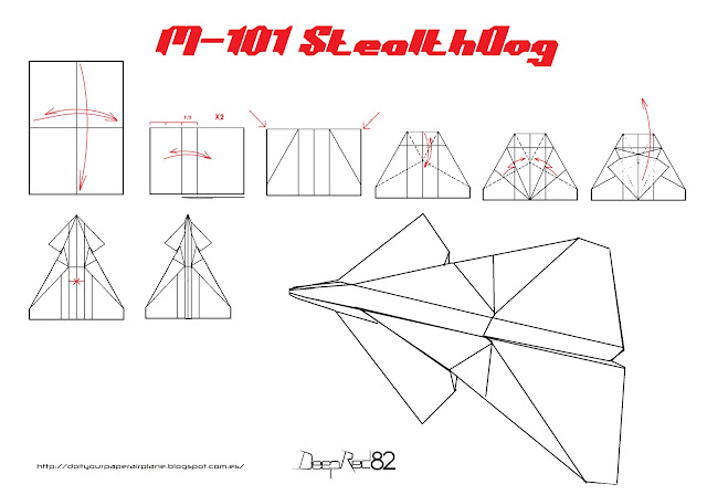 infografía avion de papel M-101 StealthDog