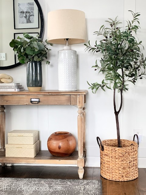 DIY olive tree in foyer