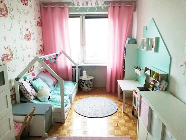 pokój dziecięcy, pokój dla dziewczynki, pokój dziecka, pastelowy pokój miętowy pokój dziewczynki pokój trzylatki