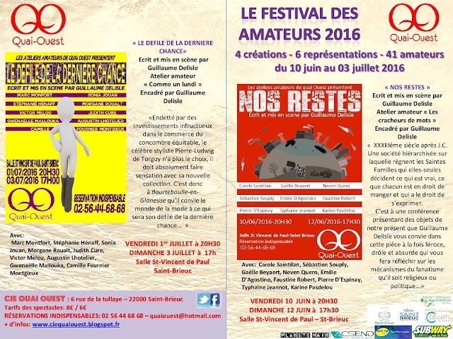 Le Festival des Amateurs 2016 (4ème édition) de la Cie Quai Ouest à St-Brieuc dans Saison 2015/2016 flyer%2Bspectacles%2Bamateurs%2B20161