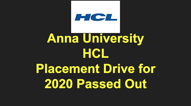 Anna University HCL Mega Placement Drive for 2020 passed out