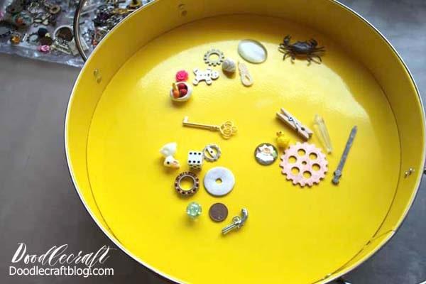 Make an I spy game resin trinket serving tray