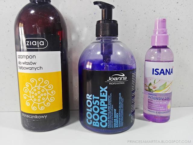 ziaja-szampon-joanna-professional-fioletowy-szampon-isana-olejek-do-włosów