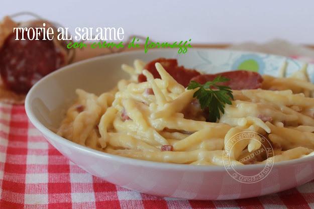 Trofie al salame piacentino e crema di formaggi | Ricetta senza lattosio