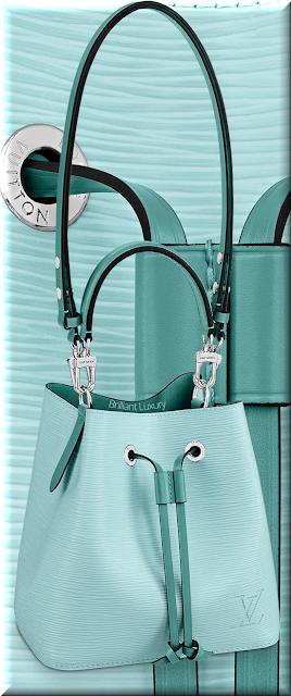 Louis Vuitton NéoNoé BB bucket bag in seaside blue and menthe trim #bags #louisvuitton #brilliantluxury