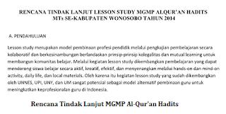 RENCANA TINDAK LANJUT LESSON STUDY MGMP ALQUR'AN HADITS MTs SE-KABUPATEN WONOSOBO TAHUN 2014 - Achmad Zudin,S.Ag