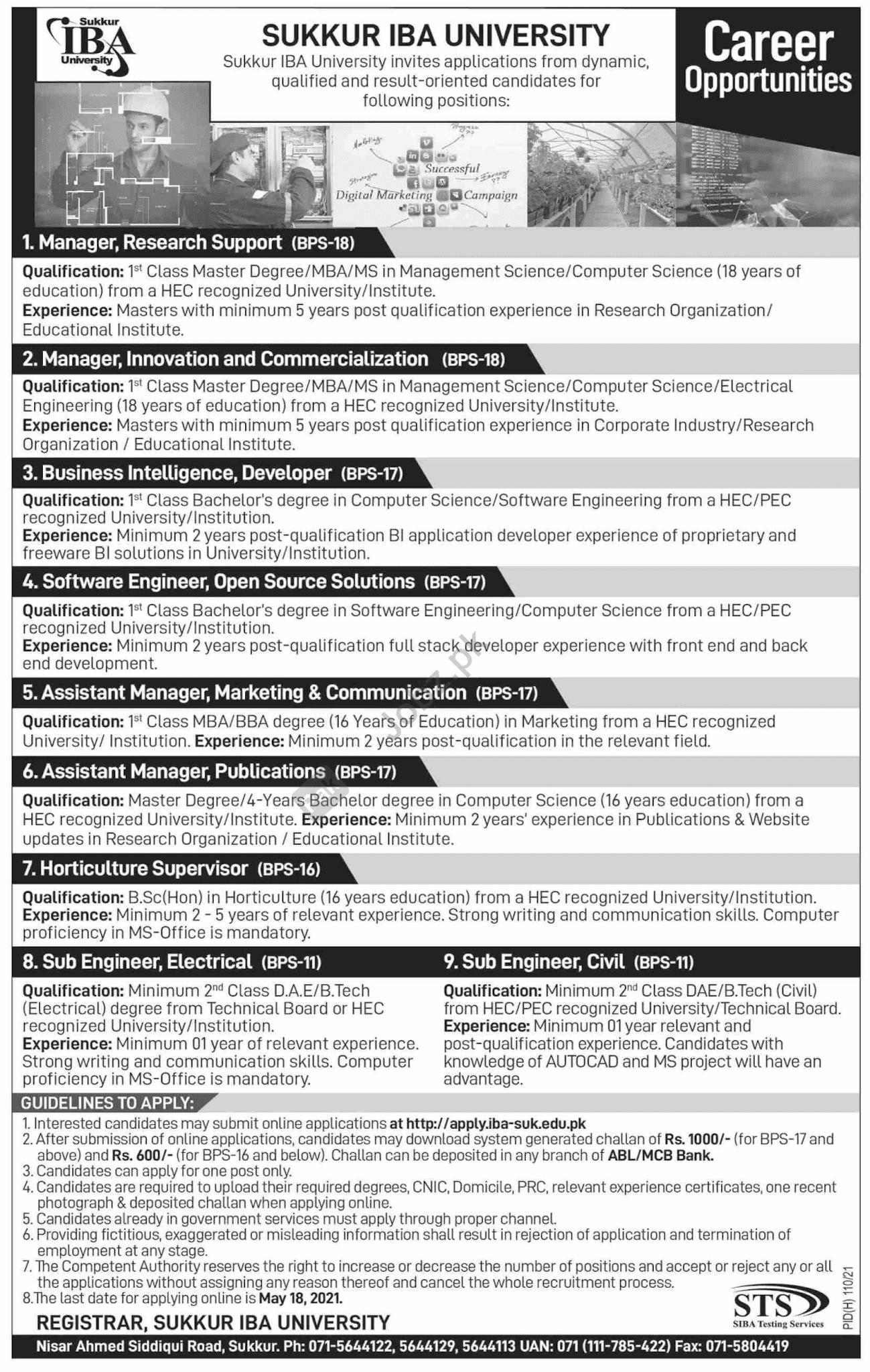 Recent #Jobs - Latest Govt Management Posts In Sukkur IBA University, Sukkur 2021  - Last date 18 May 2021