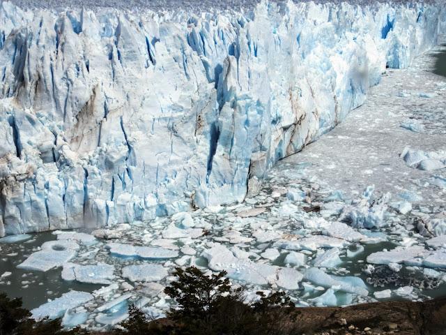 Calved ice beside Perito Moreno Glacier near El Calafate Argentina