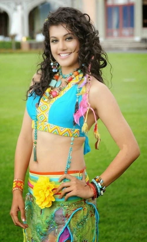 Tapsee Hot Hip Navel Show Stills In Blue Dress