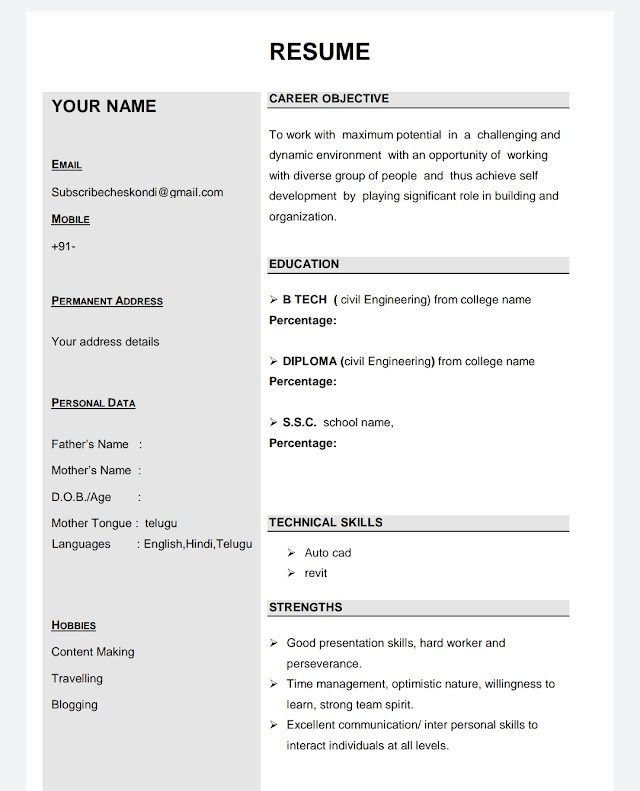 How to prepare Resume for freshers sample.