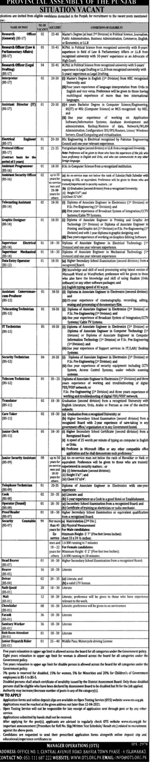 Latest Jobs in Provincial Assembly of the Punjab  2021 Application Form Download