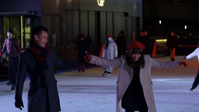 Salah satu adegan dalam film winter in Tokyo. Menikmati ski  di atas salju tapi tetap hangat dengan jaket musim dingin (dok. maximapictures)