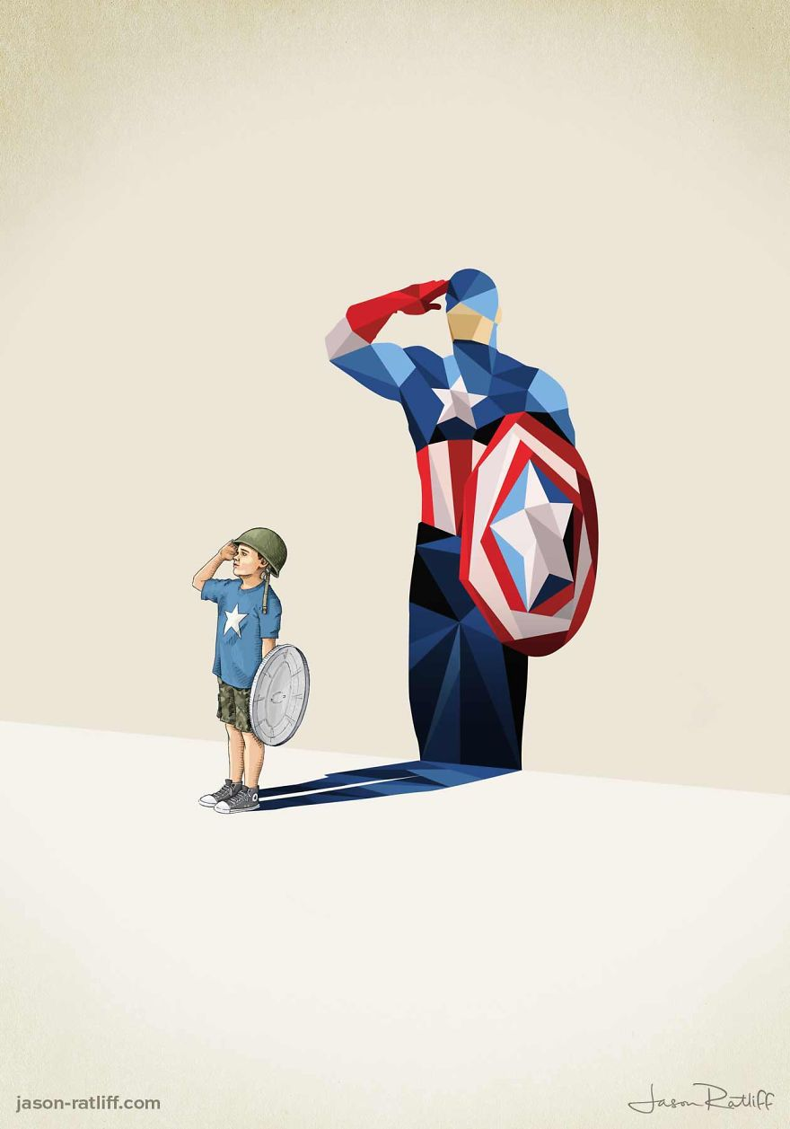 03-Captain-America-Chris-Evans-Jason-Ratliff-Comic-Book-Heroes-in-Super-Shadows-Illustrations-www-designstack-co