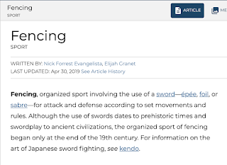 A screenshot of the opening paragraphs of the Encyclopaedia Britannica's article fencing, showing Elijah Granet's byline as the focal point.