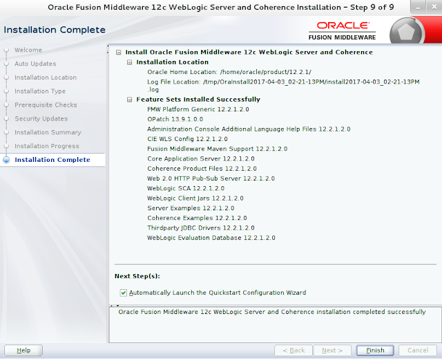 Weblogic Server Installation wizard screen 9