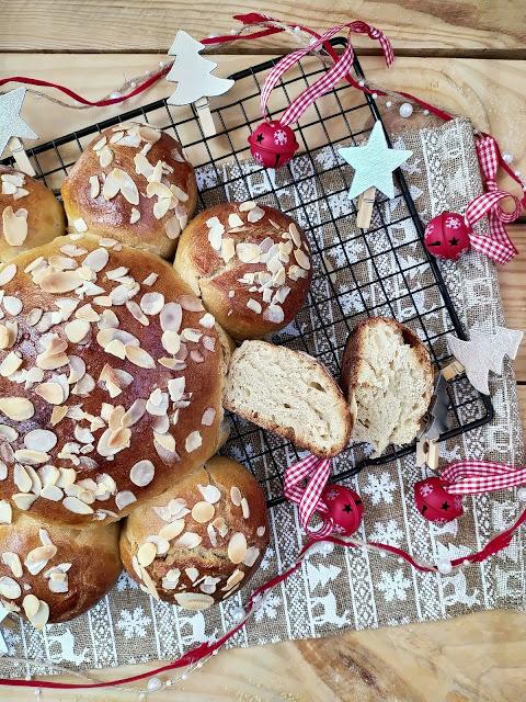 Dreikönigskuchen. Pan de Reyes. Pastel de Epifanía suizo.  Postre navideño. Masas. Desayuno, merienda, horno, almedra, Mercadona, Cuca