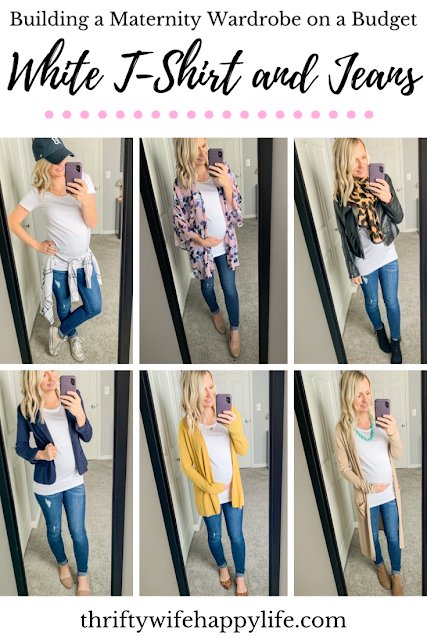 Maternity outfit ideas wearing a white t-shirt and jeans
