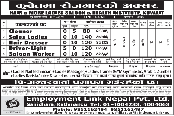 Free Visa, Free Ticket, Jobs For Nepali In Kuwait, Salary -Rs.42,000/
