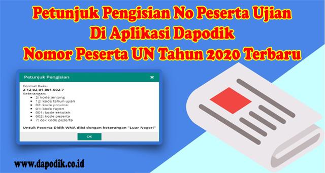 Petunjuk Pengisian No Peserta Ujian Di Aplikasi Dapodik - Nomor Peserta UN Tahun 2020 Terbaru