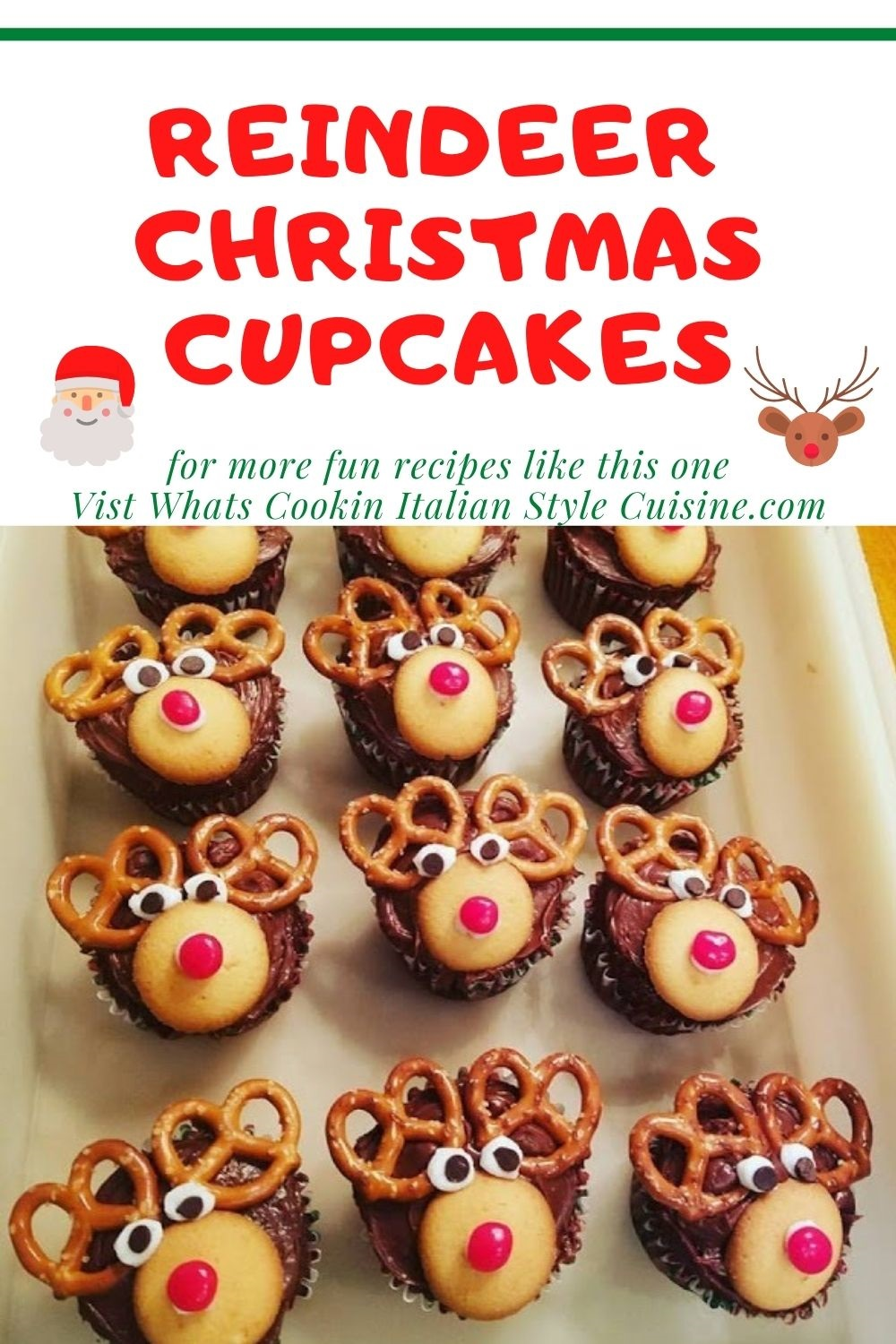 Reindeer Christmas Cupcakes pin for later
