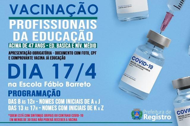 Profissionais da educação de Registro-SP receberão a primeira dose da vacina contra o COVID-19