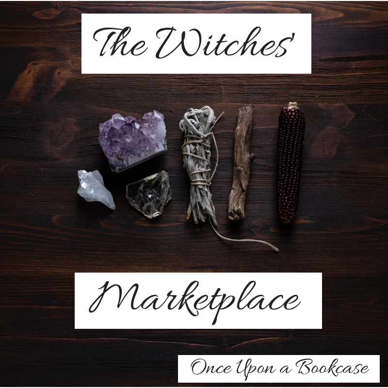 A photo of a witch's tools, featuring an amethyst, a clear quartz, a cleansing bundle, and a stick, with the words The Witches's Marketplace