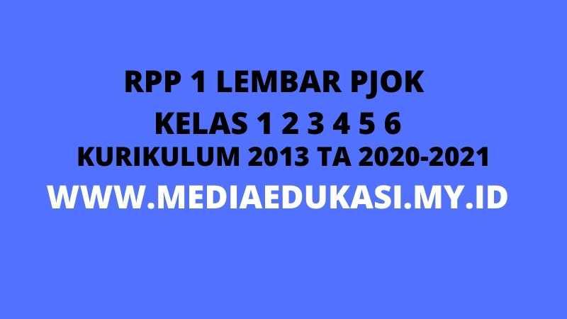 RPP 1 Lembar PJOK SD/MI Kurikulum 2013 Lengkap Semua Kelas Tahun 2020