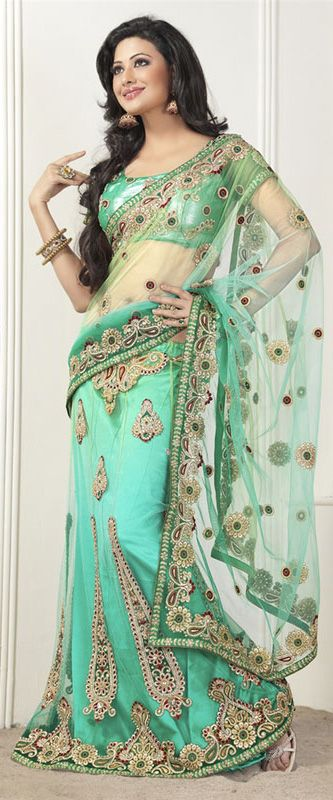 Green Lehenga Saree Net