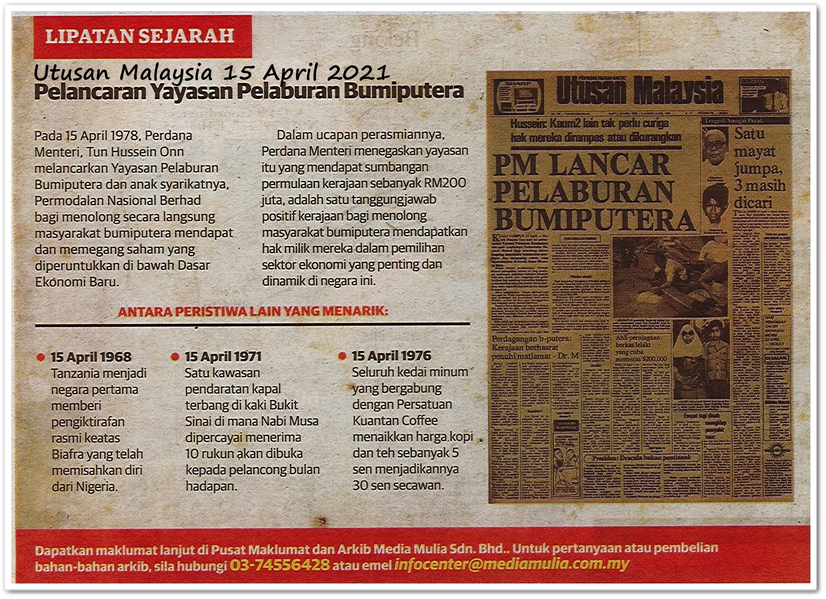 Lipatan sejarah 15 April - Keratan akhbar Utusan Malaysia 15 April 2021