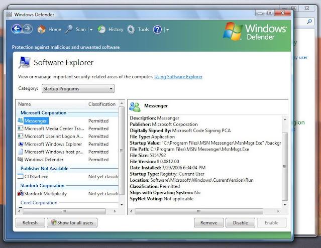Windows Vista sürümü ile yayınlanan Windows Defender sürümü
