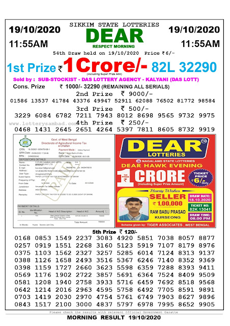 Sikkim State Lottery Result 19.10.2020, Sambad Lottery, Lottery Sambad Result 11 am, Lottery Sambad Today Result 11 55 am, Lottery Sambad Old Result