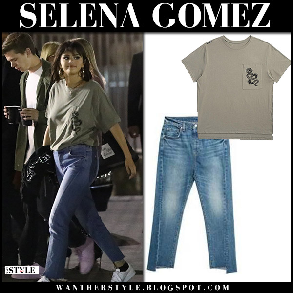 Selena Gomez in khaki t-shirt and jeans 7 for all mankind street style may 19
