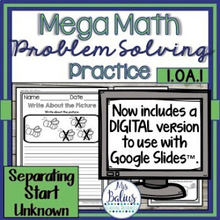 Mega Math Practice is a resource filled with lots of no prep problem solving practice.  Students are guided through multiple strategies and work on solving the 11 types of addition and subtraction problems.