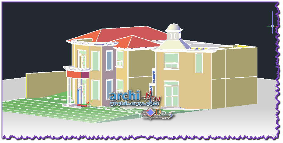 Download autocad dwg file 3d two levels house duplex house for House cad file