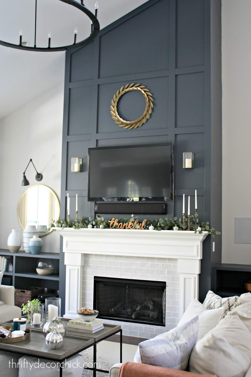 Tall fireplace with mdf grid pattern