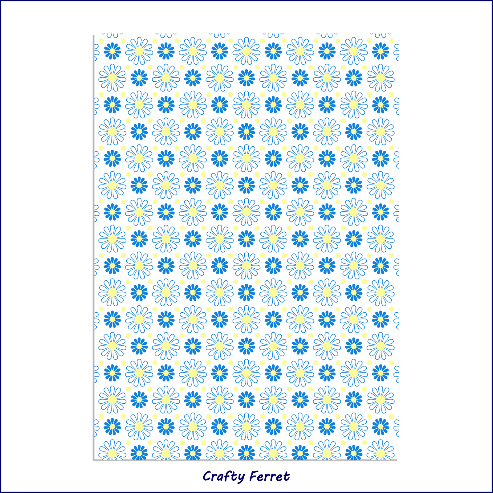 Simple daisy blue and yellow printable pattern design  free sample test print.