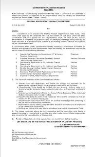 Departments Tests Syllabus and Pattern - Restructuring of the Departmental Tests Committee G.O.Rt.No.1838 Dated:13-08-2019