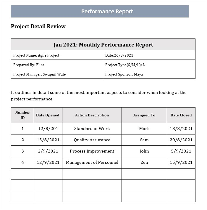 Performance Reporting Template