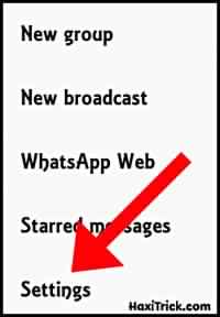 Open The Whatsapp Setting