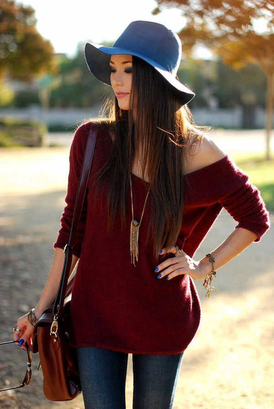 Fall Fashion - wool  hat, sweater and jeans