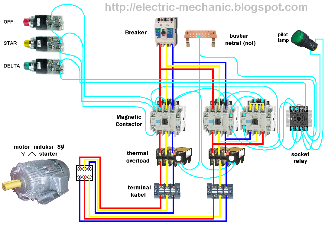 Contactor And Overload Wiring Diagram Single Phase Mitsubishi Montero Rangkaian Star Delta Auto Manual | All Of Life