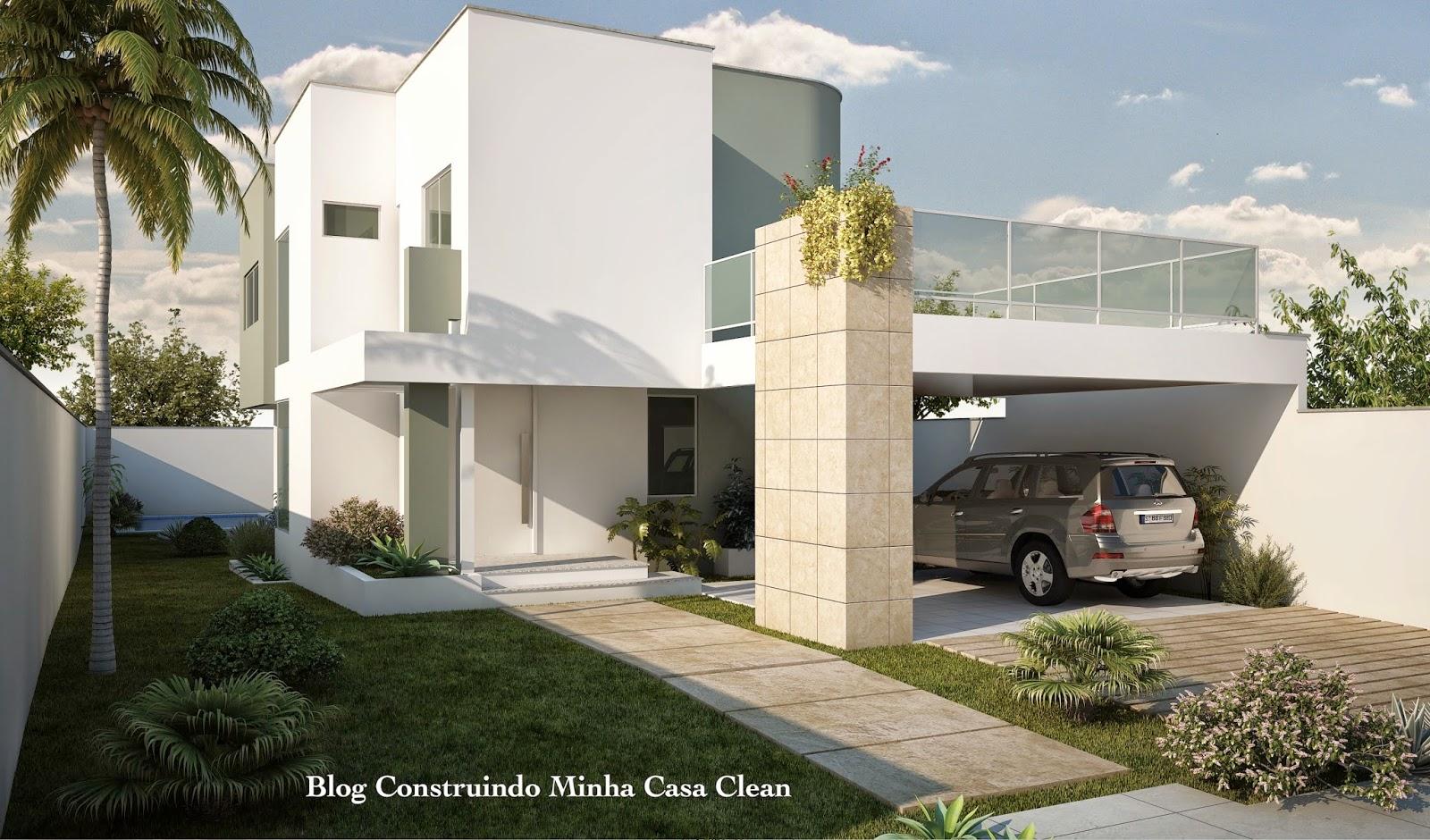 Construindo minha casa clean fachadas de casas com garagem for Frentes de casas minimalistas fotos
