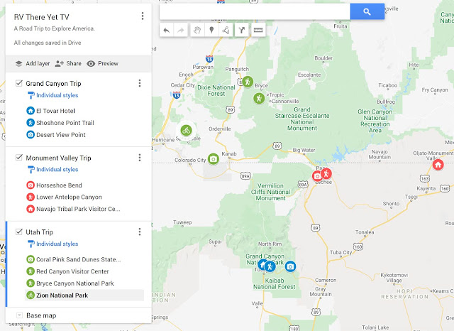 Google Map RV Trips