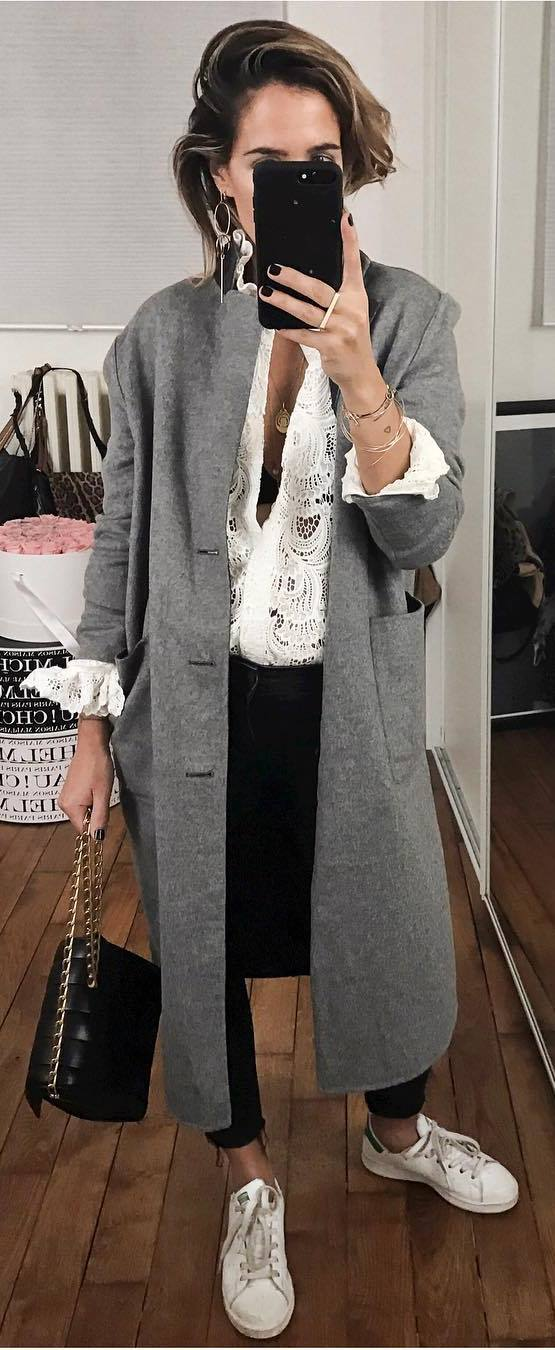 trendy winter outfit / white lace blouse + grey coat + skinnies + sneakers + bag