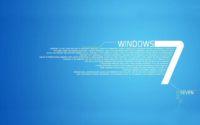 Blauwe Windows 7 wallpaper met witte 7
