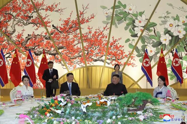 Kim Jong Un hosts banquet for Xi Jinping, June 20, 2019