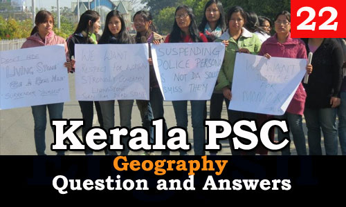 Kerala PSC Geography Question and Answers - 22