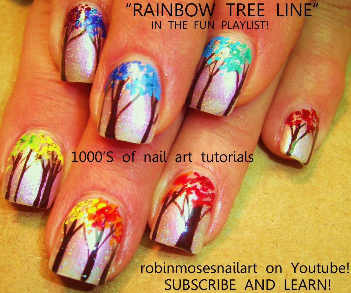 Nail Art by Robin Moses: Rainbow Watercolor Tree Nails! Fall nail ...