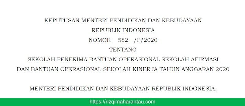 SEKOLAH PENERIMA BOS AFIRMASI DAN BOS KINERJA TAHUN 2020 BERDASARKAN KEPUTUSAN MENDIKBUD NOMOR 582/P/2020