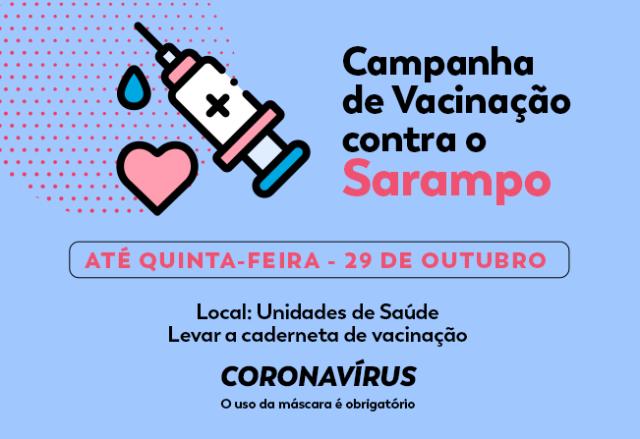 Campanha de Vacinação contra o sarampo segue até esta quinta-feira em Cajati